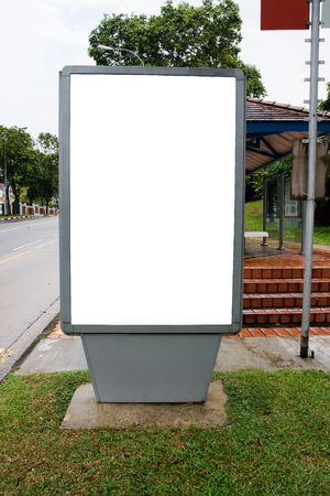 Blank billboard display at bus stop