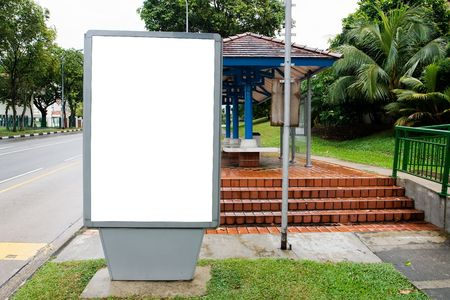 bus stop: Blank billboard display at bus stop