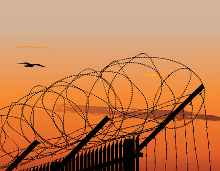 Vector illustration of metallic fence topped with barbed wire against sunset sky Vector