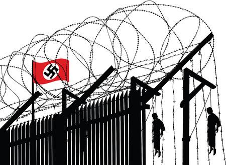 Vector illustratie van het Duitse concentratiekamp hek met prikkeldraad versierd en opgehangen mensen in de achtergrond Stockfoto - 5497629
