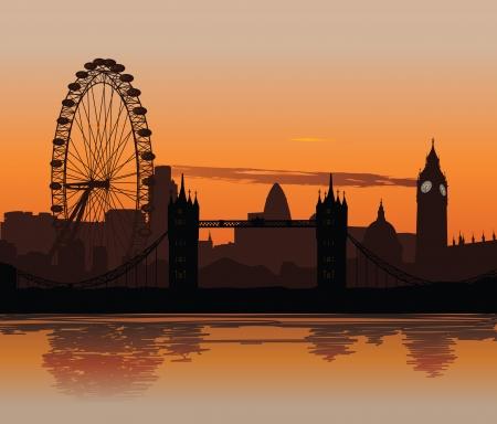 london: Vector illustratie van de Londense skyline bij zonsondergang met reflectie op de Theems Stock Illustratie