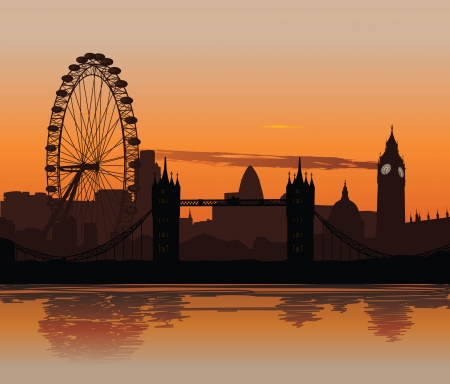 Vector illustration of London skyline at sunset with reflection on the Thames Vector