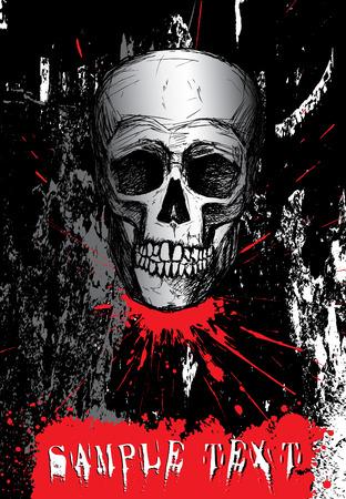 Hand drawn human skull on dark grunge background Vector