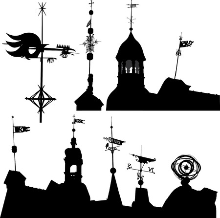 Set of vector silhouettes of weather vanes and turrets Vector