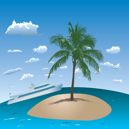 Tropical island with one palm and ship in the sea. Vector