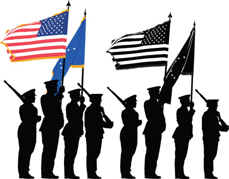 Color guard of the United States with the National Flag Stock Vector - 5618287