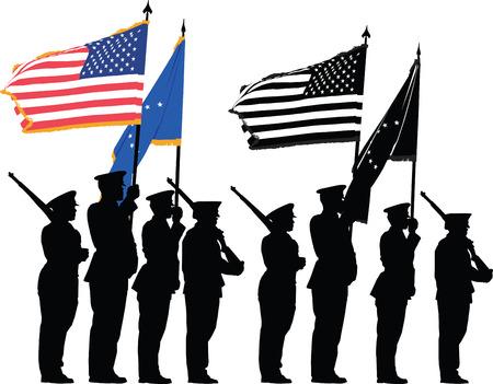 Guardia de color de los Estados Unidos con la bandera nacional