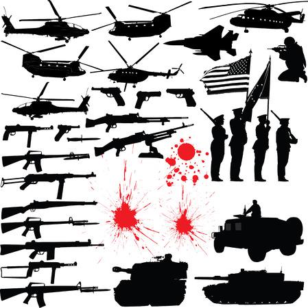 Set de varios militares por vectores relacionados con siluetas