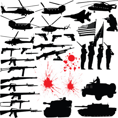 Set of various military related vector silhouettes Vector