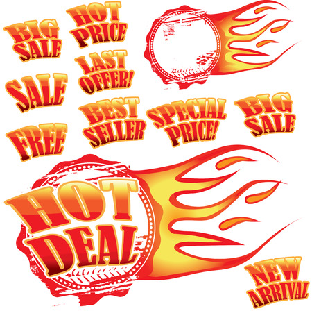 Set of hot sale stickers and rubber stamp with flames Vector