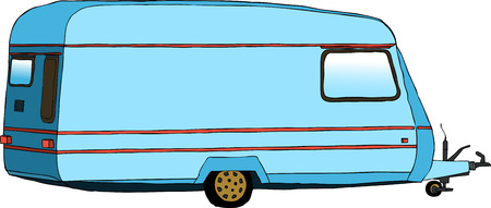 family van: illustration of travel trailer or caravan Illustration
