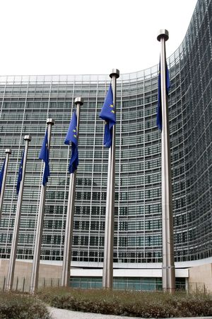 European flags in front of the European commission building in Brussels.  photo