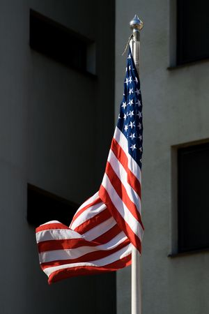 Flag of United States of America in the wind  photo
