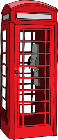telephone booth:  illustration of British red phone booth in London