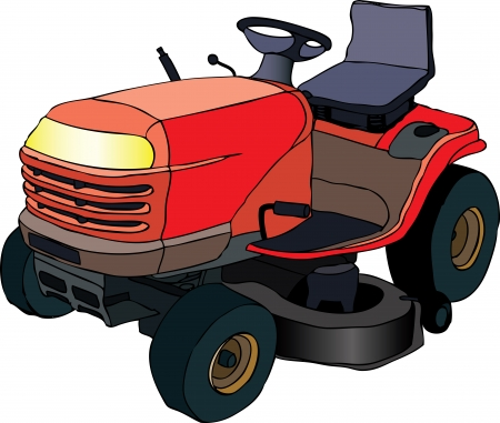mowing the lawn:  illustration of red lawn mower machine