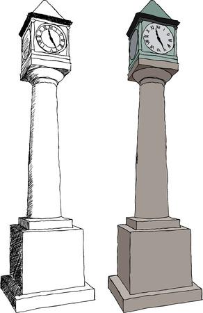 illustration of Old city clock on white