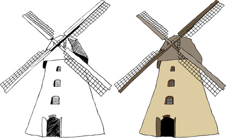traditional windmill: illustration of traditional old dutch windmill Illustration