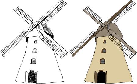 illustrazione della tradizionale mulino a vento Old Dutch