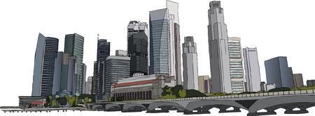 financial district: Hand drawm illustration of Singapore skyscrapers