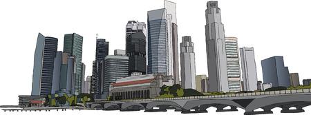 quartier g�n�ral: Hand illustration drawm gratte-ciel de Singapour Illustration