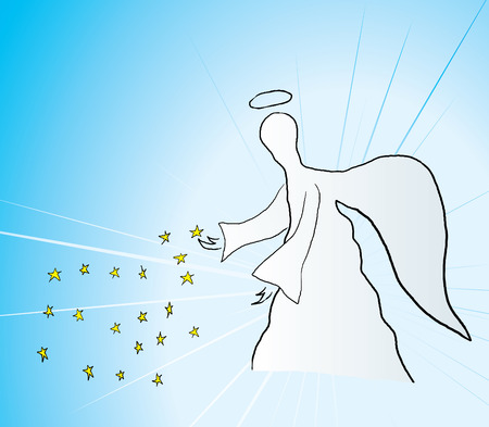 illustration of blessing angel with stars