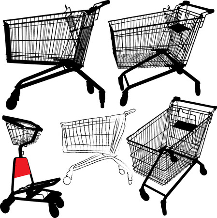 mall shopping: illustration of empty shopping trolley silhouettes