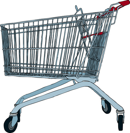 pushcart: Hand drawn illustration of empty shopping trolley Illustration