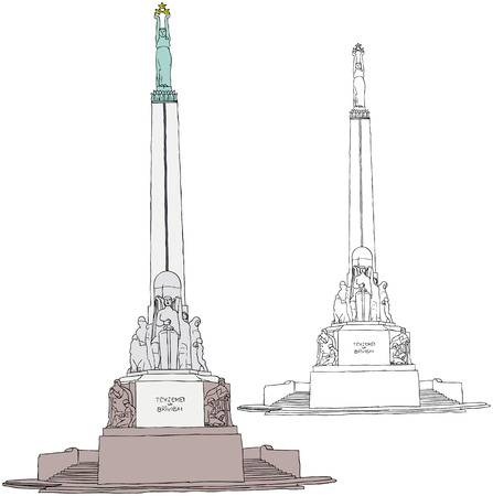 illustration of Freedom Monument in Riga Vector