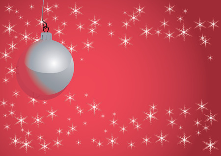 Christmas ball hanging on red background with snowflakes Vector
