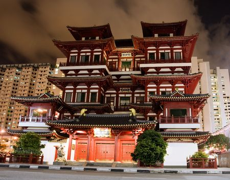 chinatown: Buddha Tooth Relic Temple in Singapore China town Stock Photo