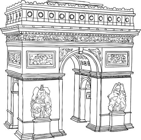 Hand drawn illustration of Paris Triumph Arc Illustration