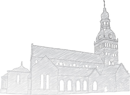 historical building: Hand drawn sketch of Riga Dome Church.  Illustration