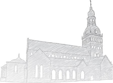 historic building: Hand drawn sketch of Riga Dome Church.  Illustration