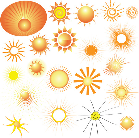 Set of vector Suns. Elements for your design. Stock Vector - 5995920