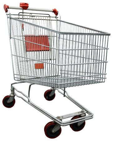 shopping buggy: Empty shopping trolley issolated on white with clipping path
