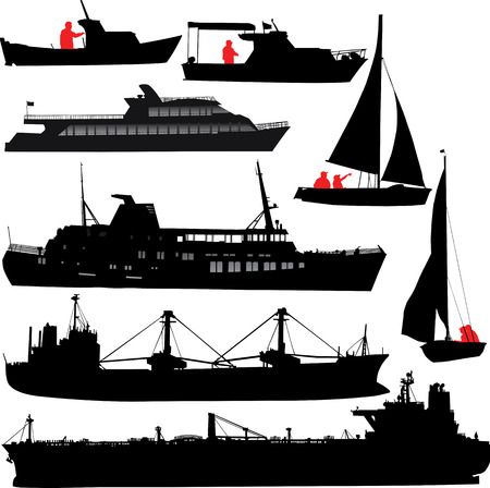 Set of vector silhouettes of ships and yachts Vector