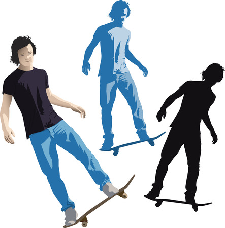 Vector illustration of young teenage skater doing a trick on a skateboard