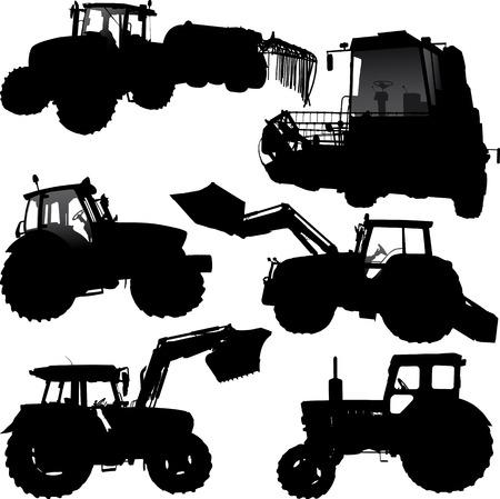 tractores: Conjunto de siluetas de vector de tractor y combinar Vectores