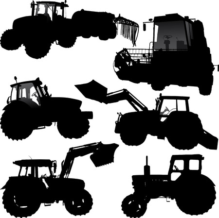 combine: Set of vector silhouettes of tractor and combine