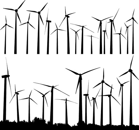 Vector silhouette of wind generators or wind turbines