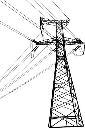 pylons: Vector silhouette of high voltage electric line against blue sky