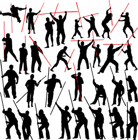 Fighting with sticks. Set of vector silhouettes. photo