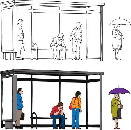 Vecteur de croquis arrêt de bus avec panneau blanc et de personnes en attente