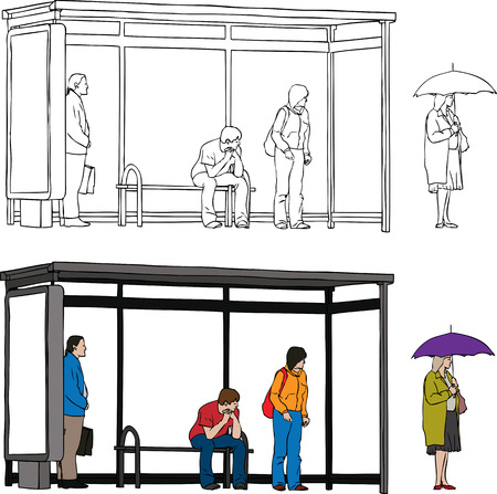 bus stop: Vector sketch of bus stop with blank billboard and people waiting