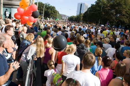 Participants of Tallinn Marathon waiting for begining of 10 km and Nordic walking race Stock Photo - 6884407
