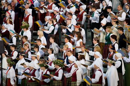 baltic people: Small part of grand choir singing at Song and dance festival opening concert in Riga Editorial