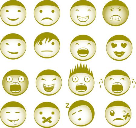 sentimientos y emociones: Colecci�n de vector Smiley con diferentes expresiones Vectores