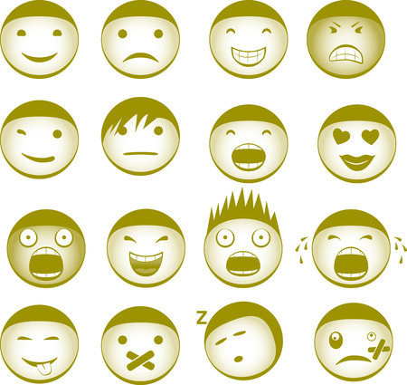 shocked: Collection of vector Smiley with different expressions