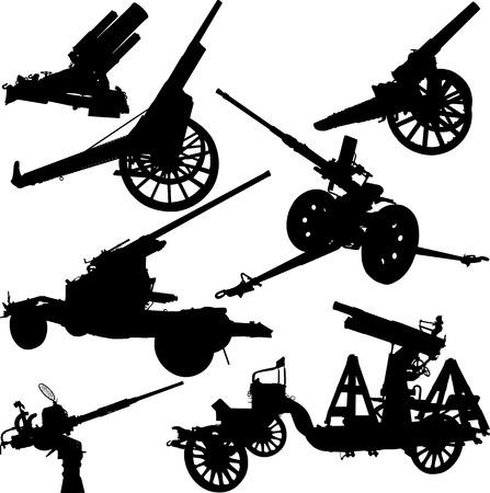 Set silhouetten van historische en moderne kanonnen