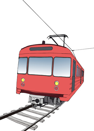 illustration of red subway or metro train viewed head-on Vector